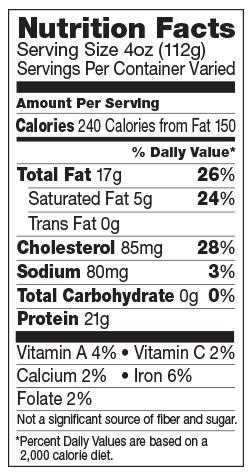 Boneless skinless breast nutrition information