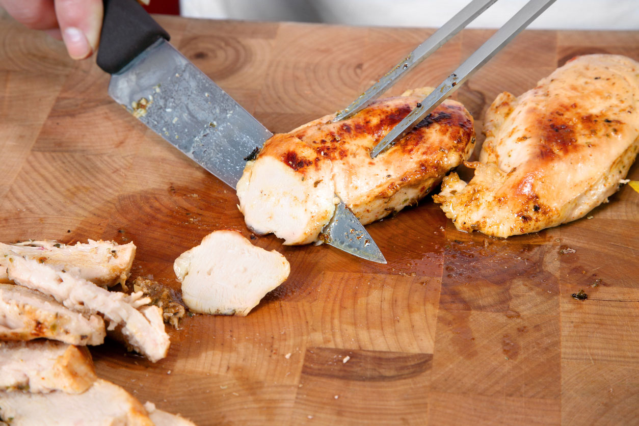 Slicing chicken