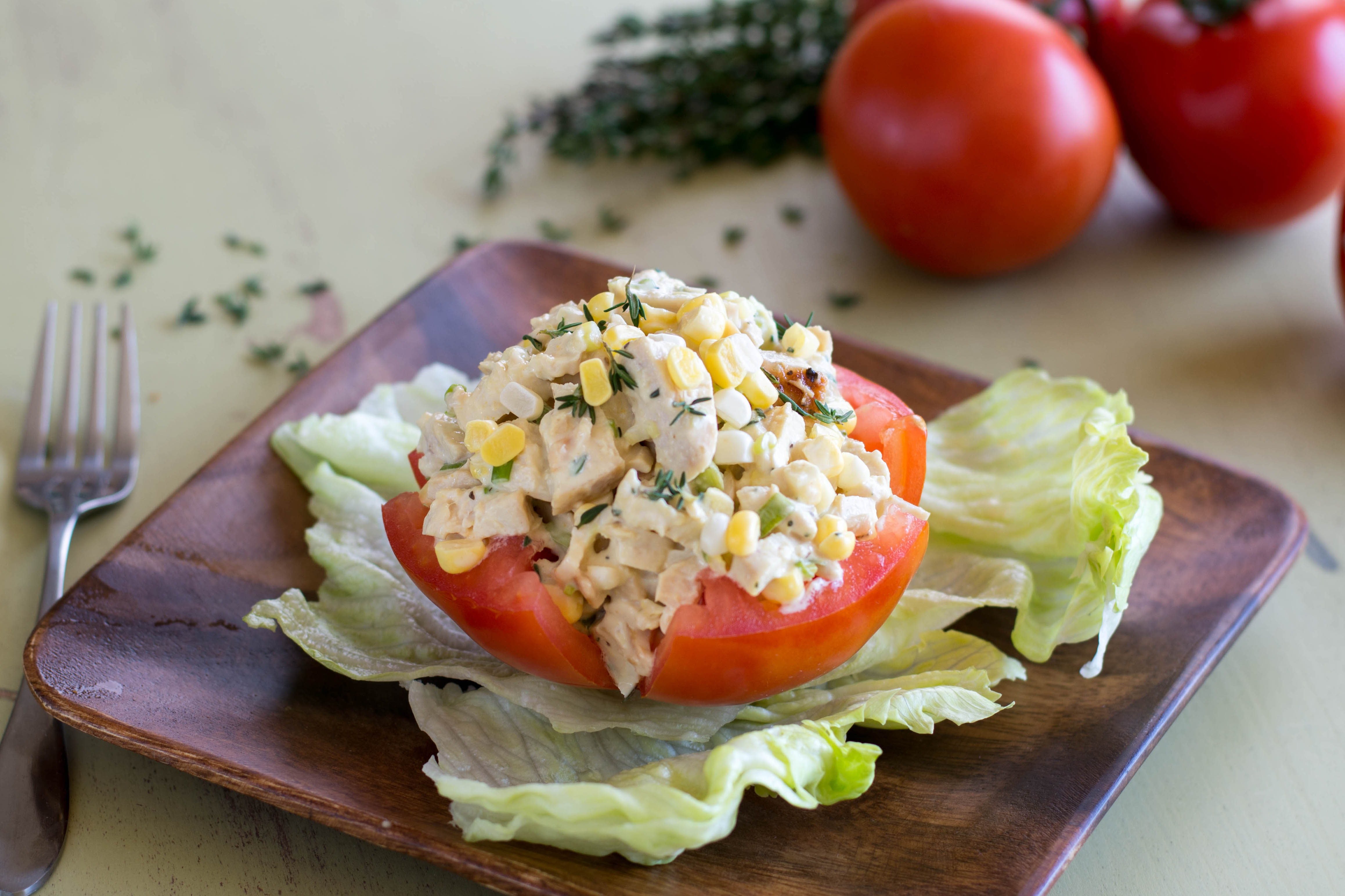 Tomatoes Stuffed with Grilled Corn & Chicken Salad | Gold ...